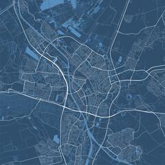 Obraz Detailed map of Utrecht city, linear print map. Cityscape panorama. - fototapety do salonu