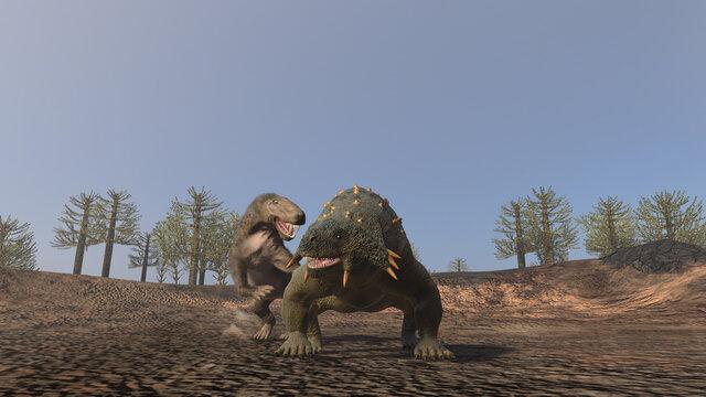 3d illustration of an Inostrancevia hunting a Scutosaurus