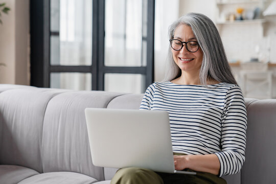 Busy middle-aged mature businesswoman tutor mother wife using laptop for e-learning, searching web, online shopping, remote freelance work, watching movies.