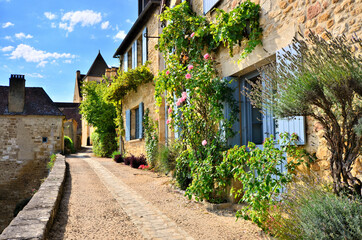 Fototapeta Beautiful street in France filled with vines and flowers in the Dordogne village of Beynac obraz