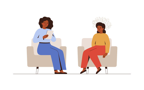 Child therapy session in doctor's office. Young girl receives emotional support from her counselor. Female psychologist has an individual meeting with her young patient. Vector illustration