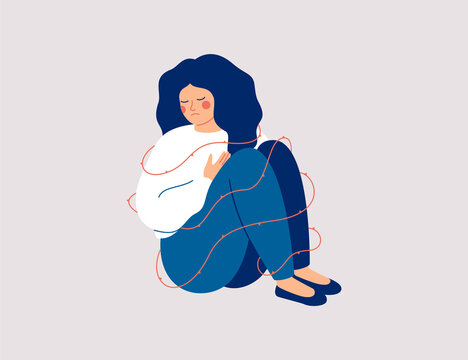 Sad woman surrounding sharp thorns. Lonely Girl has mental health problems and difficulty social acceptance. Concept social rejection and pessimism. Vector illustration