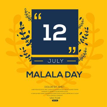 Creative design for (Malala Day), 12 July, Vector illustration.