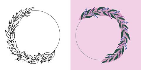Obraz Ramki z wzorem roślinnym w nowoczesnym stylu z listkami i kwiatami - romantyczny, kobiecy wzór na zaproszenia ślubne, życzenia urodzinowe, kartki, tło dla social media stories. Ilustracja wektorowa. - fototapety do salonu
