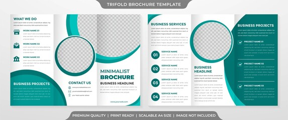 Obraz trifold brochure template with modern style and minimalist concept - fototapety do salonu