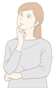疑問を感じる女性(パステルカラーバージョン)