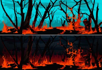 Fototapeta Forest fire with burning grass and trees vector banners. Wildfire at night or bushfire by day nature landscapes of environment design with burning woods, red fire flames, blaze and smoke clouds obraz