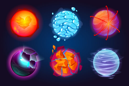 Set of fantastic planets, cartoon galaxy ui game asteroids. Cosmic world, alien space design elements. Earth, satellite with rings, water drops, glow and exploding comets surface. Vector illustration