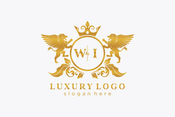 Fototapeta Initial WI Letter Lion Royal Luxury Logo template in vector art for Restaurant, Royalty, Boutique, Cafe, Hotel, Heraldic, Jewelry, Fashion and other vector illustration. obraz