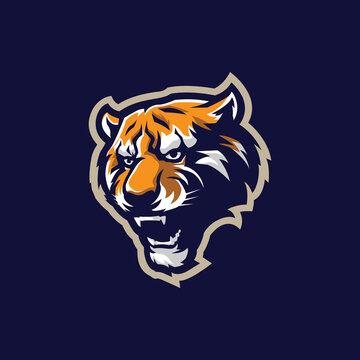 Tiger mascot logo design vector with modern illustration concept style for badge, emblem and t shirt printing. Tiger head illustration.