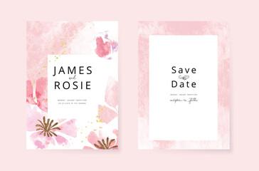Fototapeta Minimal pink tropical Wedding Invitation, floral invite thank you, rsvp modern card Design in  watercolor flower and leaf with golden line decorative Vector elegant rustic template obraz