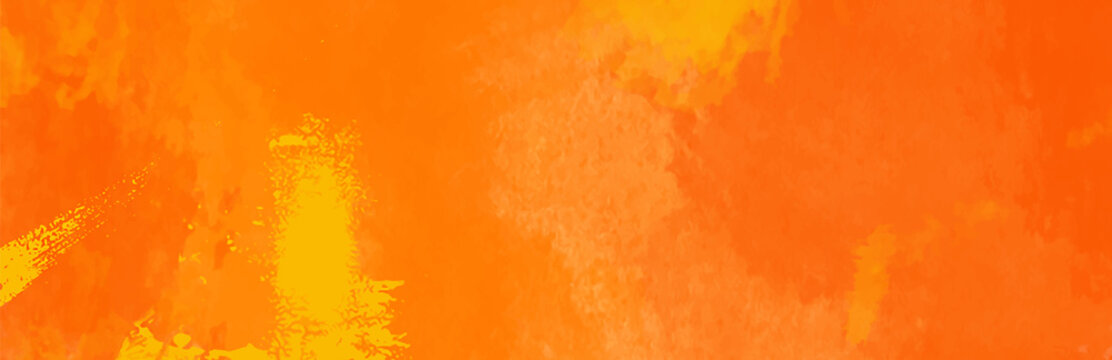 Watercolor red and orange color abstract banner.