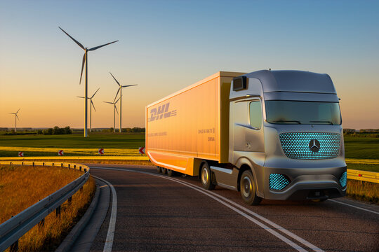 Mercedes electric truck with semitrailer with DHL logo