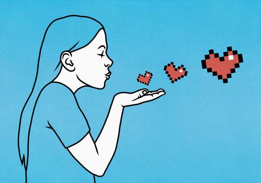 Woman blowing pixel heart kiss