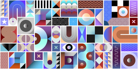 Abstract geometric seamless background. Each one of the design elements located on a separate layer.