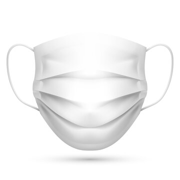 Realistic Blank White Disposable Medical Mask Template