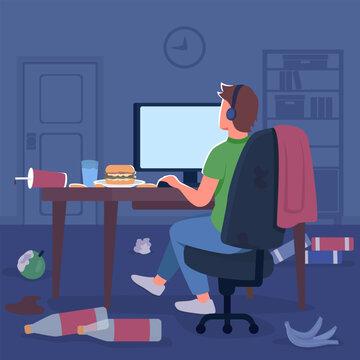 Gamer in messy room flat color vector illustration. Man in headphones at desktop screen. Junk food trash on floor. Freelancer at computer 2D cartoon character with bedroom interior on background