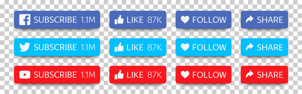 Facebook, Twitter and YouTube buttons set for social media and channel. Flat buttons (Subscribe, Like, Follow, Share) with shadow isolated on transparent background. Vector illustration EPS10