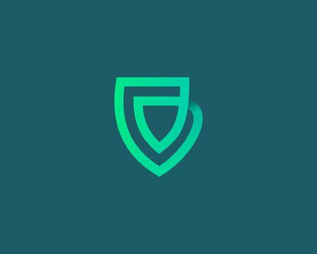 Linear shield loop vector icon logo design template. Minimalistic protection, guard vector sign symbol mark logotype.