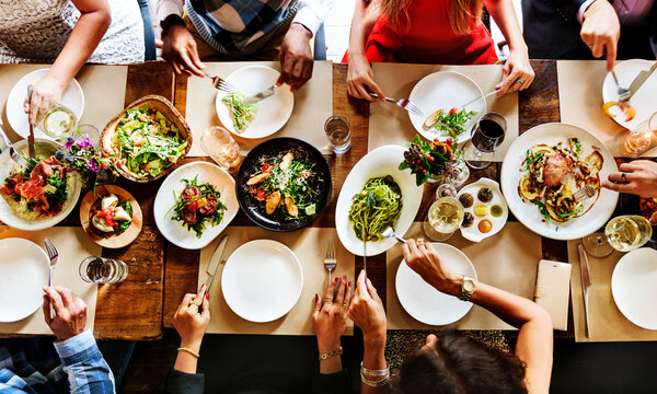 Aerial view of a table full of food