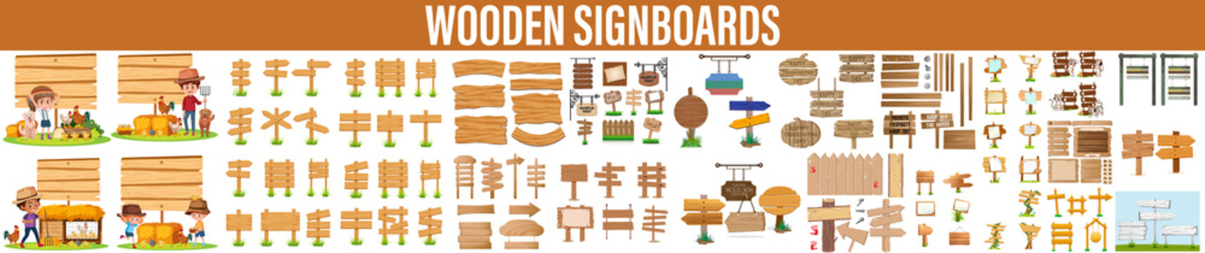 collection of various empty wooden signs hanging on a rope and chain on white background. each one is shot separately, wooden signboard hanging from a rope, Old weathered wood signboard background.