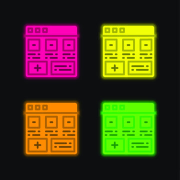 Add four color glowing neon vector icon