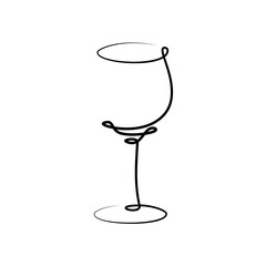 Fototapeta Red wine wineglass on white background. Graphic arts sketch design. Black one line drawing style. Hand drawn image. Alcohol drink concept for restaurant, cafe, party. Freehand drawing style obraz