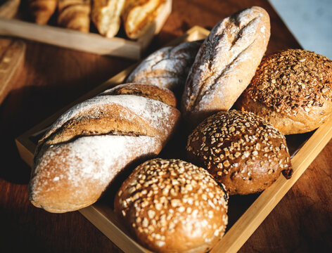 Closeup of fresh baked breads