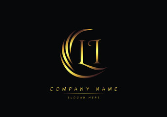 Obraz alphabet letters LI monogram logo, gold color elegant classical - fototapety do salonu