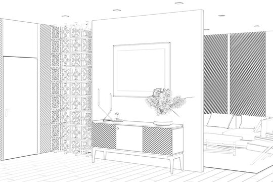 Sketch of the luxurious living room with a horizontal poster over a curbstone, a door, wall panels, a decorative partition, a sofa with a coffee table in the background. 3d render
