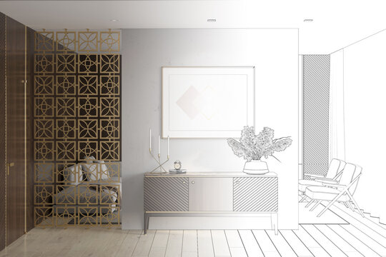 A sketch becomes a real luxury apartment suite lounge room with a horizontal poster over a wooden curbstone, a door, wood wall panels, a decorative partition, a sofa, armchairs. Front view. 3d render