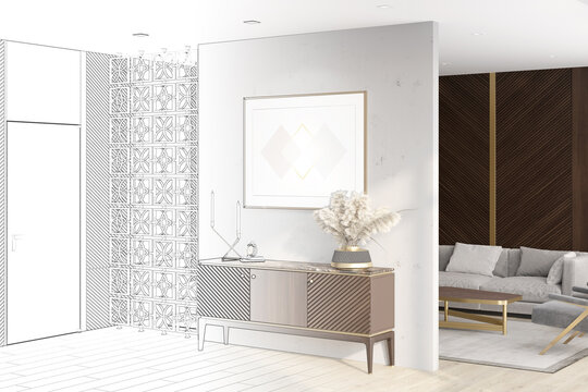 A sketch becomes a real luxurious living room with a horizontal poster over a curbstone, a door, dark wood wall panels, a decorative partition, a sofa with a coffee table in the background. 3d render