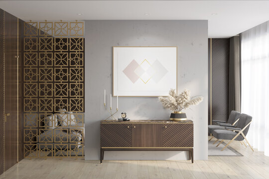 Luxury apartment suite lounge room with a horizontal poster over a wooden curbstone, a door, dark wood wall panels, a decorative partition, a sofa, armchairs, and curtains in the background. 3d render