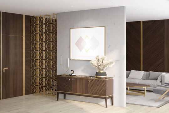 Luxurious living room with a horizontal poster over a wooden curbstone, a door, dark wood wall panels, a decorative metal partition, a sofa with a coffee table in the background. 3d render