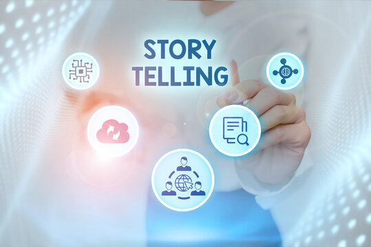 Conceptual caption Story Telling. Business concept narrative style of uttering sequence of events in order Lady In Uniform Standing Holding Tablet Typing Futuristic Technologies.