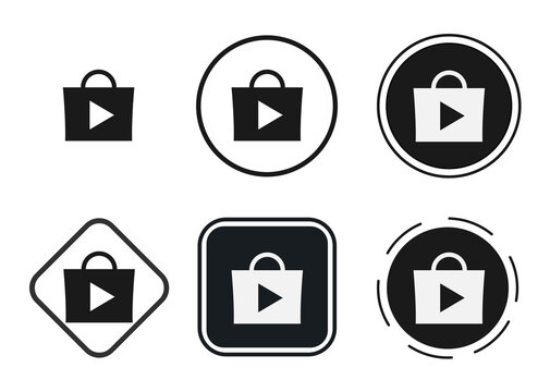 appstore icon set. Collection of high quality black outline logo for web site design and mobile dark mode apps. Vector illustration on a white background