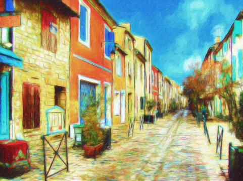 Impressionnisme. Ruelle avec des maisons colorées, Aigues-Mortes,  Département du Gard. France