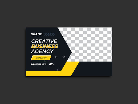 Corporate youtube thumbnail template and web banner with Vector