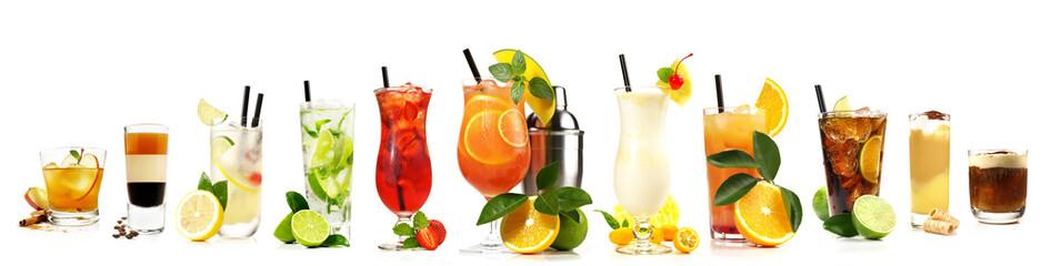 Cocktail Panorama Freisteller auf Weiß - Klassische und beliebte Bar Cocktails