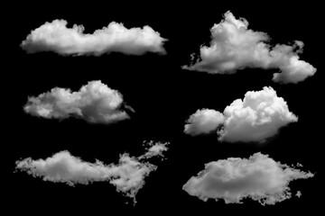 Fototapeta White clouds set isolated on black background obraz
