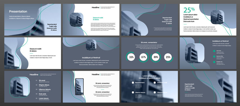 Set of vector slides for presentations and reports. Geometric elements with infographics in minimal design on a white background. Can be used for brochures, flyers, booklets, banners, web interfaces.