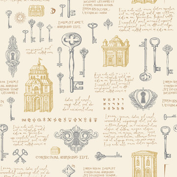 Hand-drawn seamless pattern with old buildings, vintage keys and keyholes. Vector background with sketches and handwritten text lorem ipsum in pastel colors. Wallpaper, wrapping paper, fabric