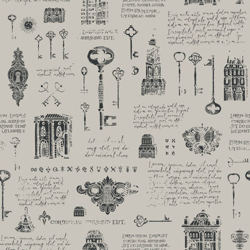 Seamless pattern with old buildings, vintage keys and keyholes in grunge style. Hand-drawn vector background with handwritten text lorem ipsum and sketches on a grey. Wallpaper, wrapping paper, fabric