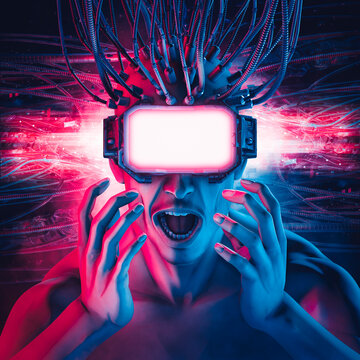 Hardwired virtual reality glasses man / 3D illustration of science fiction cyberpunk shocked male character having a mind blowing VR experience with copy space on eye screen