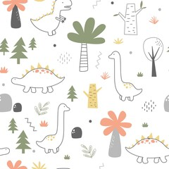 Vector hand-drawn children's illustration, print, the card with the cute dinosaurs, seamless pattern and drops in Scandinavian style on a white background.