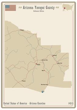 Map on an old playing card of Yavapai county in Arizona, USA.