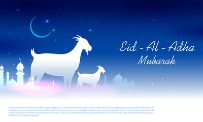 Obraz sheep wishing Eid ul Adha Happy Bakra Id holy festival of Islam Muslim - fototapety do salonu