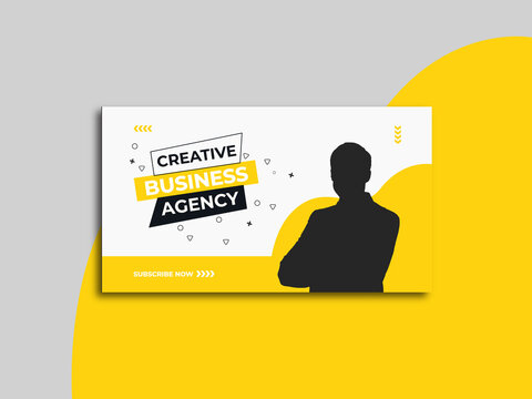Business youtube thumbnail and youtube Promotion template with Vector