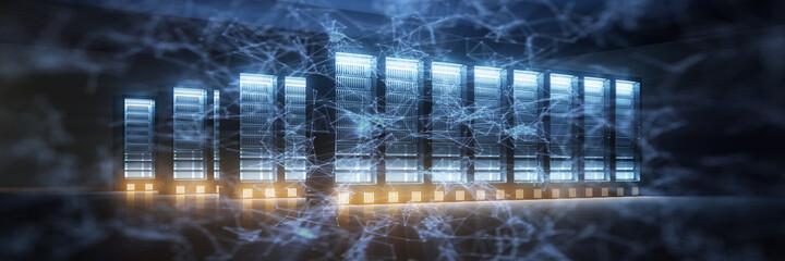 Fototapeta Netzwerk Verbindung Konzept mit vielen Servern obraz
