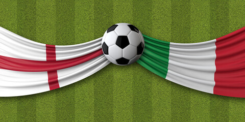 Obraz England Vs. Italy soccer match. National flags with football. 3D Rendering - fototapety do salonu